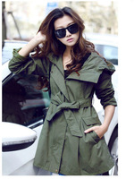 CH1288Free Shipping 2013 hot sales Brand new WOMEN'S cotton Lady dust coat lady long coat Army green color plus size XXL