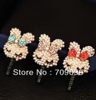 Free shipping 2013 3.5mm wholesale Fashion Honourable pearl rabbit Dust Plug , Phone Accessories Earphone Jack Plug