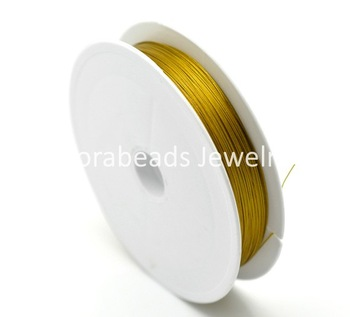 Free Shipping! Gold Plated Steel Beading Wire 0.45mm, sold per lot of 1 roll(80M) (B15911)