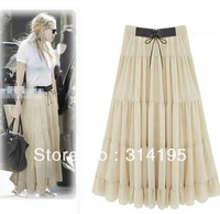 2 color(beige,black) Free\Drop Shipping 2013 summer and autumn elegant bohemia half-length chiffon skirt ssh9821