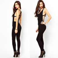 Posterization haoduoyi back cross racerback high-elastic sleeveless black slim pants bodysuit