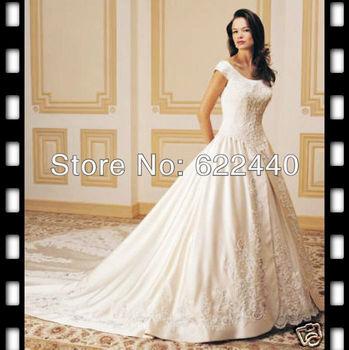 Free Shipping Popular Cap Sleeves Satin Lace Applique Noble Bridal Wedding Dresses Floor Length