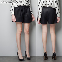 Free shipping pleated black PU faux leather shorts leather pants 6 full