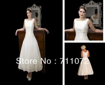 Hot Sale A Line Empire Tea Length Satin Square Neckline 2013 Unique Cheap Popular Bridal Wedding Gowns