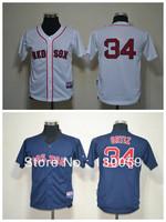 Free Shipping 2013 Cheap Kids Baseball Jerseys Boston Red Sox #34 Ortiz  Youth Jersey ,Embroidery Logos