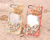 3D Bling Bling Crystal Pearl Crown Heart Cabochon with Mirror Flatback DIY Phone Case Deco Den Kit