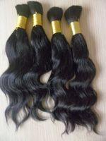 Brazilian hair on sale virgin bulk hair bulk hair for braiding human curly Wave Bluk 100g/pc 5pcs/lot 1B# 32inch