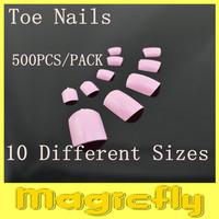 [JZJL-002]500Pcs/Pack Pink Toe Tips Full Cover Acrylic Toe Tips + Free Shipping