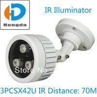 IR Illuminator  3pcs 42U Array IR LED IR Distance 70M for Security CCTV Camera fill Infrared light lamp White Free shipping