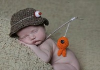 Baby crochet hat newborn hat boys handmade fisherman caps with fish kids bucket hat newborn baby photography prop Free shipping