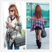 Free Shipping 2014 korean  style vintage irregular poncho sweater outerwear cardigan women's sweater  T277