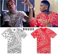 New Allover RHUDE Paisley Bandana Print Graphic Tee T Shirt Black Tyga Hip Hop
