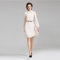 Women's 2013 New Arrival Fashion Peter Pan Collar Loose-Waist Beige Chiffon Long-Sleeve Elegant Ol Career Casual One-Piece Dress