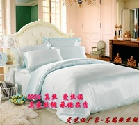 free shipping 100% silk real Mulberry silk piece set silk 4pc set  silk 4pcs bedding set/silk bed set silk bedding set