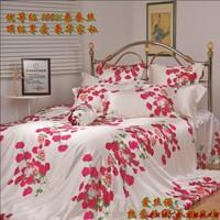 free shipping 100% real silk bedding set Premium silk mulberry piece set luxury romantic rose silk four piece bedding set