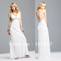 LD4238 New Design V-Neck A-Line Floor-Length Spaghetti Straps Backless White Fashion Evening Gown Free Shipping
