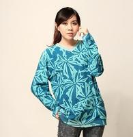 7381 vintage national trend 100% cotton full-body print V-neck sweater