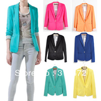 2013 fashion new hot stylish and comfortable women's cotton Blazers Candy color lined with striped Z suit W4100 ,Free shipping