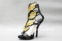 2013 Hot lady high heel sandals gold leaf wedge pumps flame sandal shoes Star with Shoes Fashion women leather high heels