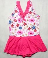Free shipping 2013 fashion baby swimwear one pieces beachwear cotton 100% print girls swimsuit