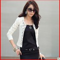 Trend Knitting  Korea 2013 autumn new women's jackets fashion rivets O-neck slim Long sleeve Blazer plus-size XXL