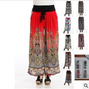 waist drawstring culottes casual pants wide leg pants imitation silk