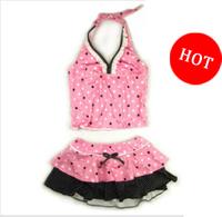Free shipping Child swimwear Cotton Two pieces Dot girls swimsuit beachwear set
