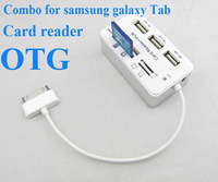 Free shipping ALL IN ONE combo card reader OTG adapter for samsung galaxy tab 2 p6200/p3100/p7510/p5100/n8000