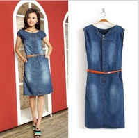 Free shipping!New Fashion Denim Vintage Cute Dress High Street Active Casual Designer Sophisticated Dresses  LF5961