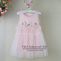 Beautiful Girl Summer Dress Pink Cotton Children Formal Dresses For Wedding And Pary Dresses Ready Stock Kids Wear GD30701-26