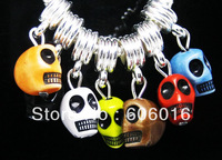100PCS/LOT Mix Color Fashion DIY Resin 12*9mm Skull Charm Beads Dangle Beads Fit European Brcelet nb101