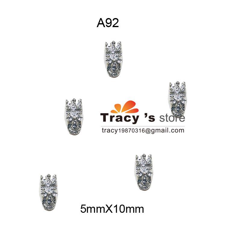 Free Shipping 100pcs 3d New Skulls For Decoration Nail Art Alloy 5*10mm A92(China (Mainland))