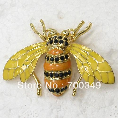 Wholesale 12piece lot Black Crystal Rhinestone Gold Plated Enamel Honey Bee Pin Brooch Fashion jewelry gift
