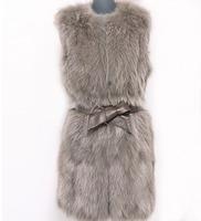 Fast shipping 2013 new  Design  100% nature lades fox fur women`s  vest  Warm winter  coffe color size : S M L XL XXL XXXL