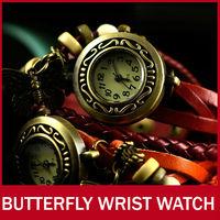 10Pcs Fashion Vintage Butterfly Pendant Punk Style Women Ladies Girls Bracelet Wristwatches Analog Quartz Wrist Watches