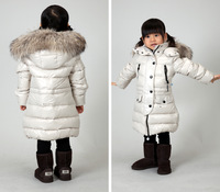 2012 winter female child down coat children's clothing down coat medium-long large fur collar