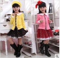 Han edition 2013 autumn wholesale children's skirt suit girls dress veil