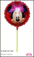 free shipping  8.5inch minne  foil balloon ,star foil balloon within stick.  ,size 21x21cm