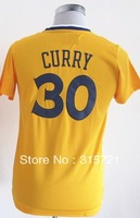 2013 free shipping top quality Golden State Stephen Curry #30 long sleeve kids boys girls customized basketball jersey gold