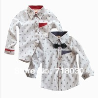 TWO colors 2013 autumn new children's clothing boys kids long-sleeved shirt 100% Cotton shirt  free shipping 6set/ lot Gift tie