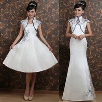 Liza olympic cheongsam long blue and white porcelain design embroidered formal dress formal dress cheongsam