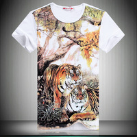 Feeling Apparel 2013 new arrival chinese classical style fashion design,men\'s 100% cotton O-neck short-sleeve T-shirt.M-XXXXL