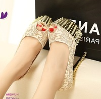 Hot-selling women's shoes open toe sexy metal rivet platform thin heels ultra high heels single shoes