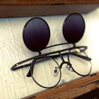 K6 steam punk fashion vintage double layer metal circle flip sunglasses personalized sunglasses