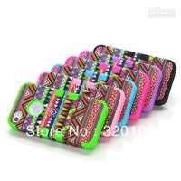 3 in 1 Hybrid Hard Soft Red Tribal Tribe Heavy Duty Cover Case For iPhone 4 4S 400pcs