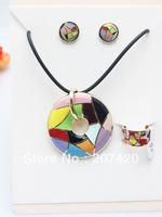Rose Gold Plated Colorful Rainbow Design Enamel Jewelry Set,(Necklace,Earrings,Ring),1set/pack