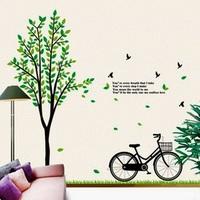 Cartoon Bike tree PVC Wall Sticker ,Wall Decal ,Wallpaper, Room Sticker, House Sticker AY941 Free Shipping