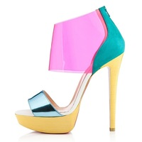 2013 New design women shoes PVC sandals 140mm transparent platform pumps red bottom sexy high heels