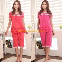 Korean version of the lovely ladies sleepwear summer short-sleeved pajama suit women tracksuit bow Pyjamas