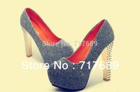 2013 sexy women's pumps ultra high heels platform party dance shoes rivet pumps free shipping